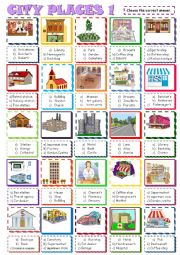 English Worksheet: City places:Multiple choice 1