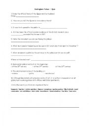English Worksheet: Buckingham palace quiz