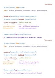 English Worksheet: time words - suddenly, as, as soon as, then