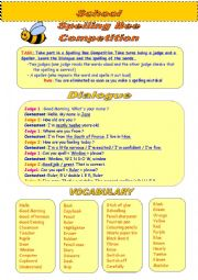 English Worksheet: Spelling Bee Competition Dialogue