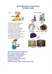 English Worksheet: MY BROTHER DOESN�T LIKE TO SHARE ( a poem + a pictionary)