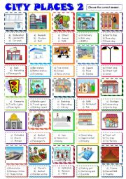 English Worksheet: City places:Multiple choice 2