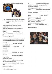 English Worksheet: We are the world