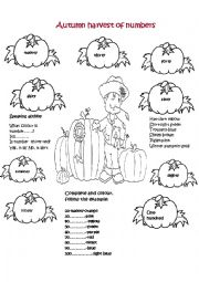 English worksheet: Autumn harvest of numbers