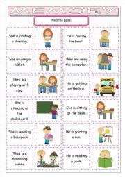 English Worksheet: Kids at School Memory Game