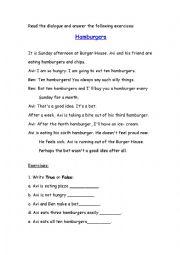 English Worksheet: Unseen-Hamburger