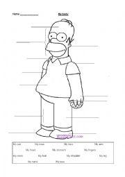English Worksheet: My body label activity