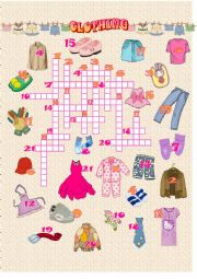 English Worksheet: Clothes - Crossword puzzle