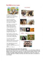 english worksheets zoo rules a poem a pictionary. Black Bedroom Furniture Sets. Home Design Ideas