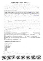 English Worksheet: DUMPSTER DIVING MOVEMENT