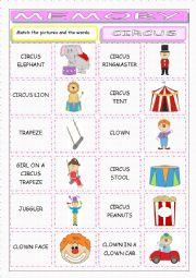 English Worksheet: Circus Memory Game