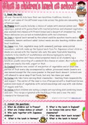 English Worksheet: What is children�s lunch at school?