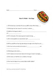 English Worksheet: Listening comprehension - How It�s Made - Hot Dogs