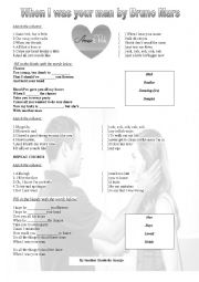 English Worksheet: WHEN I WAS  YOUR MAN