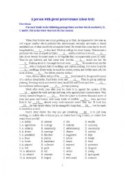 English Worksheet: A person with great perseverance (cloze test)