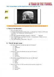 English Worksheet: A train in the tunnel (LISTENING) + audio link and tapescript.