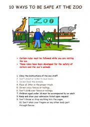 English Worksheet: Zoo Rules for  Children