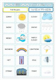 English Worksheet: Weather Memory Game