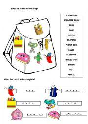 english worksheets my school bag. Black Bedroom Furniture Sets. Home Design Ideas