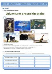 English Worksheet: Adventures around the globe
