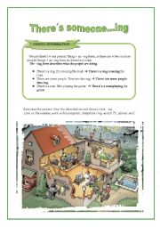 English Worksheet: Like +ing :There�s someone sneaking in the house