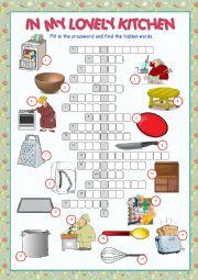 English Worksheet: Kitchen Crossword Puzzle