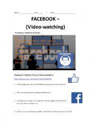 English Worksheet: Facebook Addicts - Fake documentary