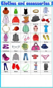 English Worksheet: Clothes and accessories, pictionary 1