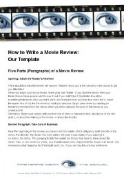 English Worksheet: write a movie review