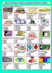 English Worksheet: Back to school: classroom language: multiple choice (+ key)