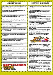 English Worksheet: Practice 1: linking words & prefixes and suffixes (+key)
