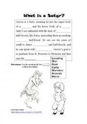 English Worksheet: What is a Satyr?