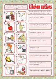 English Worksheet: Kitchen Actions