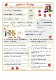 English Worksheet: The place of adverbs