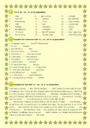 English Worksheet: PREPOSITIONS OF TIME-ACTIVITY