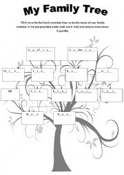 English Worksheet: Family tree fill in