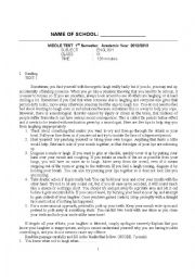 English Worksheet: Reading Writing Speaking Test (Essay and Multiple Choice)