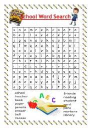 English Worksheet:  back to school Ice breaker (word search)
