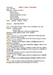 English Worksheet: Module 2/ Lesson 2: School rules 9th form