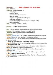 English Worksheet: Module 2/ Lesson 3: First day at school