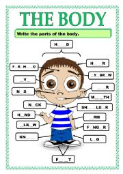 English Worksheet: PARTS OF THE BODY_ACTIVITY