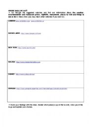 English Worksheet: Internet Activities 1 - Where Shall We Go?