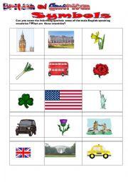 English Worksheet: British and American symbols