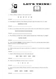 English Worksheet: let�s think
