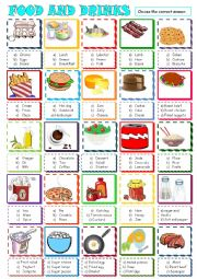 English Worksheet: Food , drinks and groceries:multiple choice activity