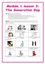English Worksheet: 9th form module 1 lesson 3 the generation gap (part 1)