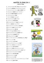 English Worksheet: American slangs
