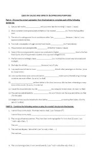 English Worksheet: Quiz on cause and effect