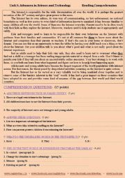A reading Comprehension activity for 2nd BAC students ( Unit: Science & technology: Internet) )