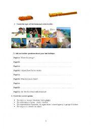 English Worksheet: Holidaying